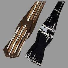 Two Vintage Patterned Bow Ties – U-Set Adjustable Size 13-18 Self Tie