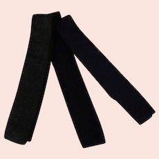 3 Vintage 100% Wool Knit Ties, Square Bottoms – Skinny Neckties in Dark Colors