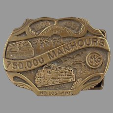 Morrison Knudsen Locomotive Shop Belt Buckle - MKCo. 1990's Limited Edition