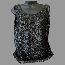 Ladies 1960's Vintage Black Beaded and Sequined Shell Top – Eloquent Evening Wear