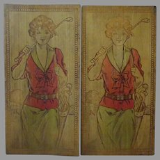 Vintage Wood Burned Pyrography Stationery or Hankie Box with Golfing Girls