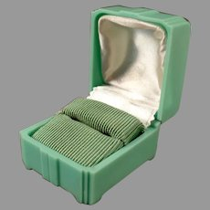 Vintage Pastel, Mint Green Bakelite Ring Box with Deco Shape