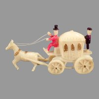 Vintage Celluloid Miniature Toy - Little Horse Drawn Princess Carriage