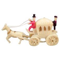 Vintage Celluloid Miniature Toy - Little Horse Drawn Princess Carriage
