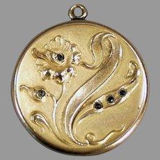 Vintage Art Nouveau Picture Locket with Floral Design & Tiny Stones - Gold Filled