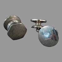 Vintage Kum-A-Part Cuff Links - Two Different Designs, Silver Tone 1920's