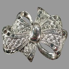 Vintage Bow Lapel or Scarf Pin – Textured Silvertone with Marcasite Accents