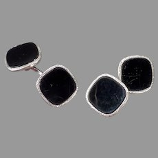 Vintage Swank Cuff Links - Black and Silver Cuff Links - Loose Link Style