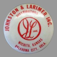 Vintage Advertising Tape Measure – Johnston & Larimer Inc. Distributors – Oklahoma & Kansas