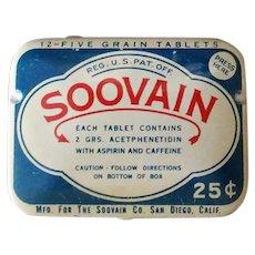 Vintage Medicine Advertising Tin – Soovain Aspirin Medical Tin
