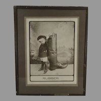 Vintage 1910 Photograph - Little Boy with a Very Large Rubber Boot