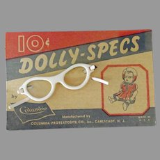 Vintage Doll Accessory – Dolly Specs, White Plastic Eye Glasses in Original Packaging