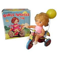Vintage Wind Up Toy - Girls Tricycle with Original Box