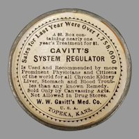Vintage Non-Celluloid Medical Advertising Mirror - Gavitt's System Regulator Laxative