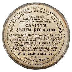 Vintage Non-Celluloid Medical Advertising Mirror - Gavitt's System Regulator Laxative