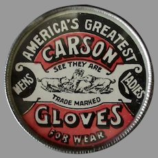 Vintage Non-Celluloid Advertising Mirror – America's Greatest Carson Gloves