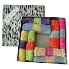 Vintage Hi-Jacs Highball Glass Knit Sock Coaster Set with Original Box