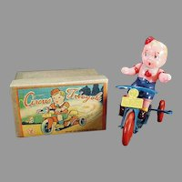Vintage Occupied Japan Wind Up - Celluloid O.J. Boy on Tricycle with Box