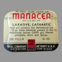 Vintage Medical Advertising Tin – Nyal Manacea Laxative Medicine Tin