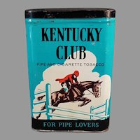 Vintage Tobacco Tin - Kentucky Club Pipe and Cigarette Tobacco Vertical Pocket Tin