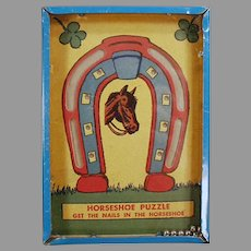 Vintage Dexterity Puzzle Game - Get the Nails in the Horseshoe