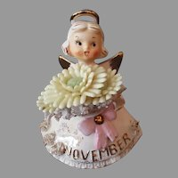 Vintage Lefton November Birthday Angel Topaz Birthstone and Large Mum Flower
