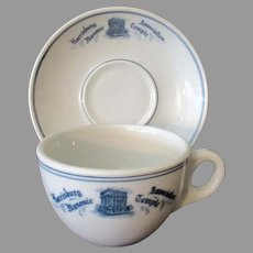 Vintage 1920's Restaurant China – Harrisburg Association Masonic Temple Cup & Saucer
