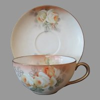 Vintage Royal Bayreuth, Hand Painted Ivory Cup and Saucer with Yellow Roses