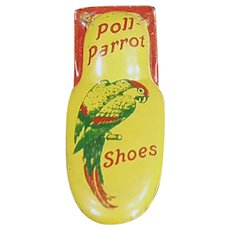 Vintage Poll Parrot Shoes Advertising Premium - Tin Toy Clicker