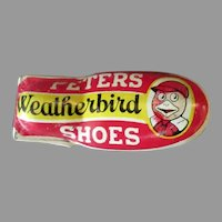 Vintage Advertising Premium - Peters Weatherbird Shoes Tin Toy Clicker