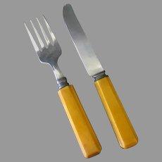 Child's Vintage Fork and Knife Set - Flatware with Bakelite Handles