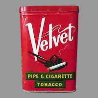 Vintage Vertical Tobacco Tin - Velvet Pipe and Cigarette Tobacco Tin