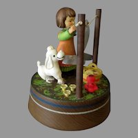 Vintage Anri Music Box with Lara's Theme - Girl Hanging Laundry