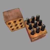 """Vintage Millers Falls Complete #1550 3/16"""" Steel Numbers Punch Tools Set in Original Box"""