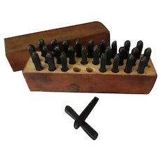 "Vintage Millers Falls Complete #1500 3/16"" Steel Letters Punch Tools Set in Original Box"