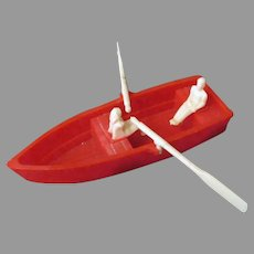 Vintage Hard Plastic Renwal Row Boat with Two People and Oars
