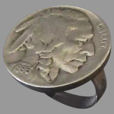 Vintage Silver Ring with 1936 Indian Head Buffalo Nickel – Size 5
