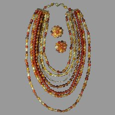 Vintage Costume Jewelry - Multi Strand Necklace & Matching Earrings - Yellows and Oranges
