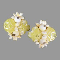 Vintage Costume Jewelry Clip-On Earrings with Pastal Lemon Yellow Flowers and White Beads