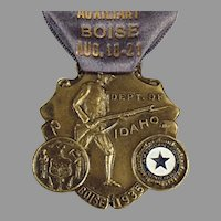 Vintage 1935 Idaho American Legion Auxiliary Medal with Original Ribbon Pin