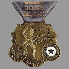Vintage 1935 Idaho American Legion Auxiliary Medal with Original Ribbon Pin