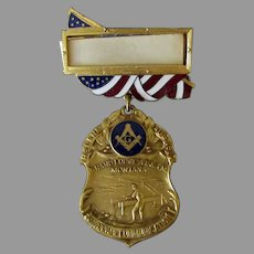 Vintage 1917 Montana Grand Lodge Masonic Medal with Mining References