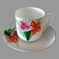 Vintage, Thin Porcelain Cup & Saucer with Colorful Flowers - Occupied Japan