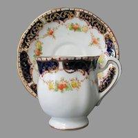 Vintage Royal Standard Bone China Cup & Saucer Set in Royal Blue, Gold Trim