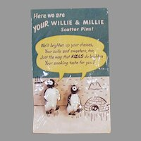 Vintage Kool Cigarettes Advertising Premium - Willie and Millie Penguin Pins - Original Packaging