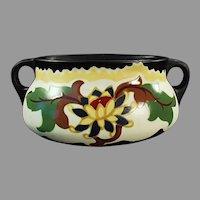 Vintage Czechoslovakian Art Pottery Console Vase Decorator Accent Piece