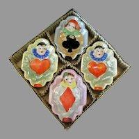 Vintage Bridge Ashtray Set - 4 Clowns with Lustreware Glaze – Original Box