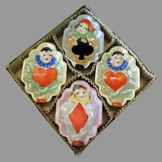 Vintage Bridge Ashtray Set - 4 Clowns with Lustreware Glaze – Original Box