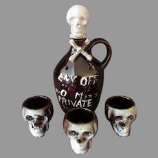 Vintage Liquor Decanter Set – Poison Brown Jug with Skull & Three Mugs