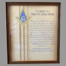 Vintage Buzza Motto Print – The Work of a True & Loyal Mason